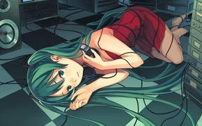 девушка, лежит, наушники, провода, динамики