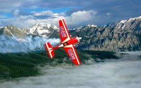 самолет, небеса, высота, облака, горы, панорама, вираж