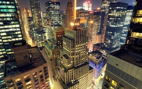 Город, вечер, дома, свет