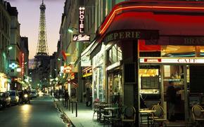 Париж, улочка, вечер, франция