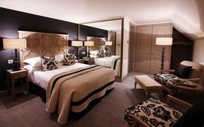 interno, camera, appartamento, design, stile, letto, nero, bianco, marrone, albero, specchio, sedia