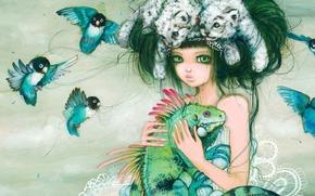 Arte, ragazza, acconciatura, Uccelli, piccioncini, Pappagalli, cuccioli, iguana, lucertola, fantasia