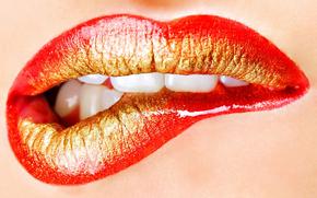 губы, помада, зубки