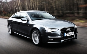 Audi, Sportback, front, gray, road, forest, Audi