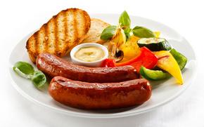 сосиски, соус, хлеб, овощи, еда