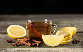 cup, tea, cinnamon, lemon