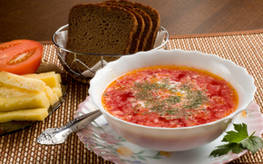 borscht, sour cream, greens, bread, cheese, tomato, plate, spoon, food