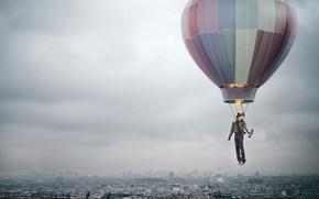creativo, citt, smog, uomo, palloncino, fuoco, volo