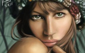 художник, портрет, девушка, лицо, взгляд, графический планшет