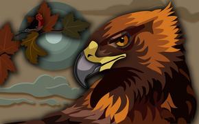 Birds, eagle, Golden eagle, birdie, obloka, Sharp eyes