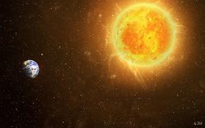 космос, земля, солнце, звезды