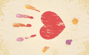 день влюбленных, день святого валентина, сердце, отпечаток, ладонь, клякса