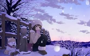 Art, girl, Winter, snow, fence, evening, bear