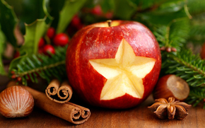 New Year, Christmas, apple, cinnamon, holiday, New Year