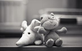 Giocattoli, mouse, gatto, Felpa, in bianco e nero