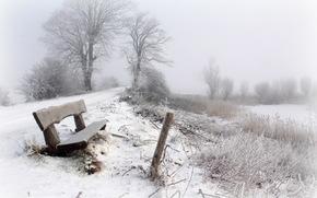 Winter, snow, fog, bench