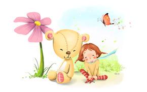 girl, Bear, flower