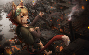 Art, some, girl, city, fish, cat, tail, patch, river, roof, backpack