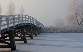 river, bridge, fog, snow, Winter