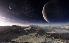alien planet, surface, Mountains, sky, Planet