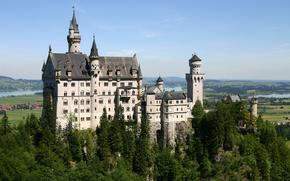 замок, нойшванштайн, замок на утесе