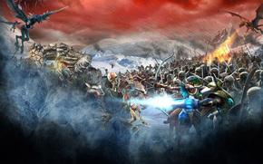 битва, поле боя, нежить, голем, дракон, гарпии