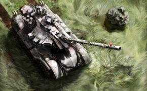 арт, танк, трава, цветы, след