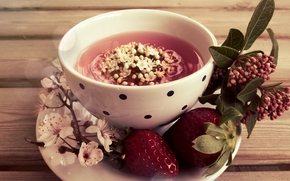 cup, saucer, strawberry, Flowers, leaves