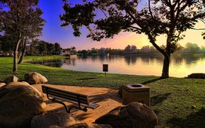 paesaggio, parco, natura, panchina, panchina, pietre, lago, acqua, albero, profumatamente