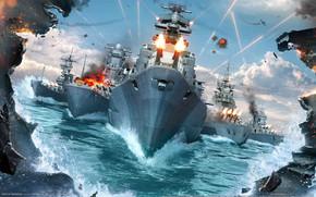самолёты, флот, корабли, огонь, взрывы, море, волны, небо, битва