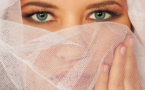 макро, близко, портрет, лицо, девушка, макияж, зеленые, глаза, сетка, фата, свадьба, ногти, лак, маникюр