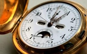 макро, хронометр, часы, циферблат, стрелки, минуты, секунды, время, полдень, обед, золото