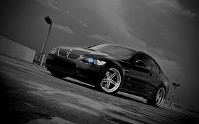 бмв, чёрный, парковка, BMW