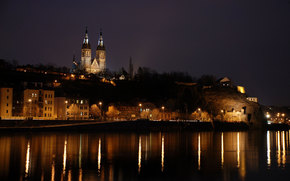 city, Prague, Czech Republic, night, lights