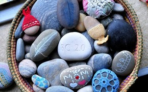 color, painted, painted, stones, knitting