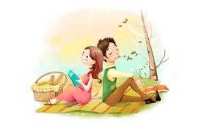 disegno, positivo, dreaminess, prato, fiori, picnic, cestino, pane, ragazza, tipo