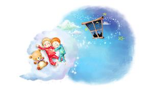 рисунок, облака, малыши, сон, детство, пижамы, окно, месяц, звёзды, плюшевый мишка