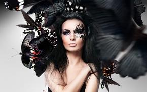 девушка, макияж, лицо, бабочки, фотошоп