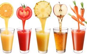соки, напитки, стаканы, морковь, яблоко, томат, ананас, апельсин, белый фон