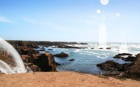 скала, море, солнце, волны, песок