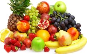 fruit, Berries, pineapple, bananas, peaches, strawberry, grapes, pears, orange, apples