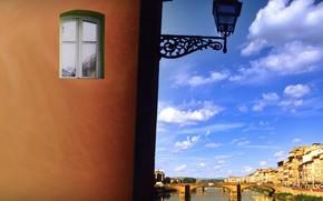 ventana, linterna, puente