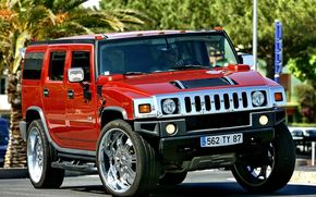 SUV, red, Palms, driver, sun, Hammer, Hummer