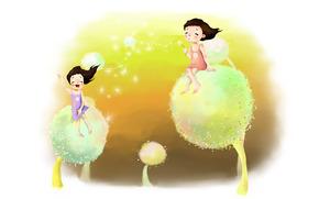 picture, childhood, girls, Dreams, dandelions, down, wind, laughter, joy, positive