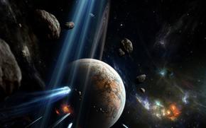 planeta, Meteory, miejsce, Explosions