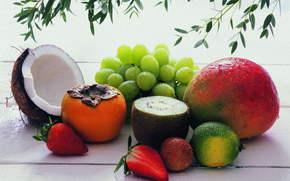 food, fruit, coconut, strawberry, kiwi, grapes, persimmon, delicious
