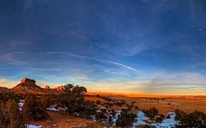 Utah, canyon, snow, sky, moon