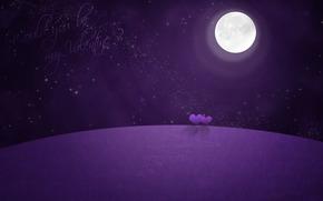 валентинка, луна, сердечки, звёзды, ночь