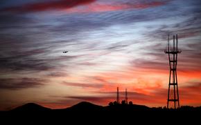 вечер, закат, силуеты, вышки, самолёт