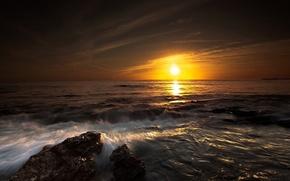 夕日, 海, 太陽